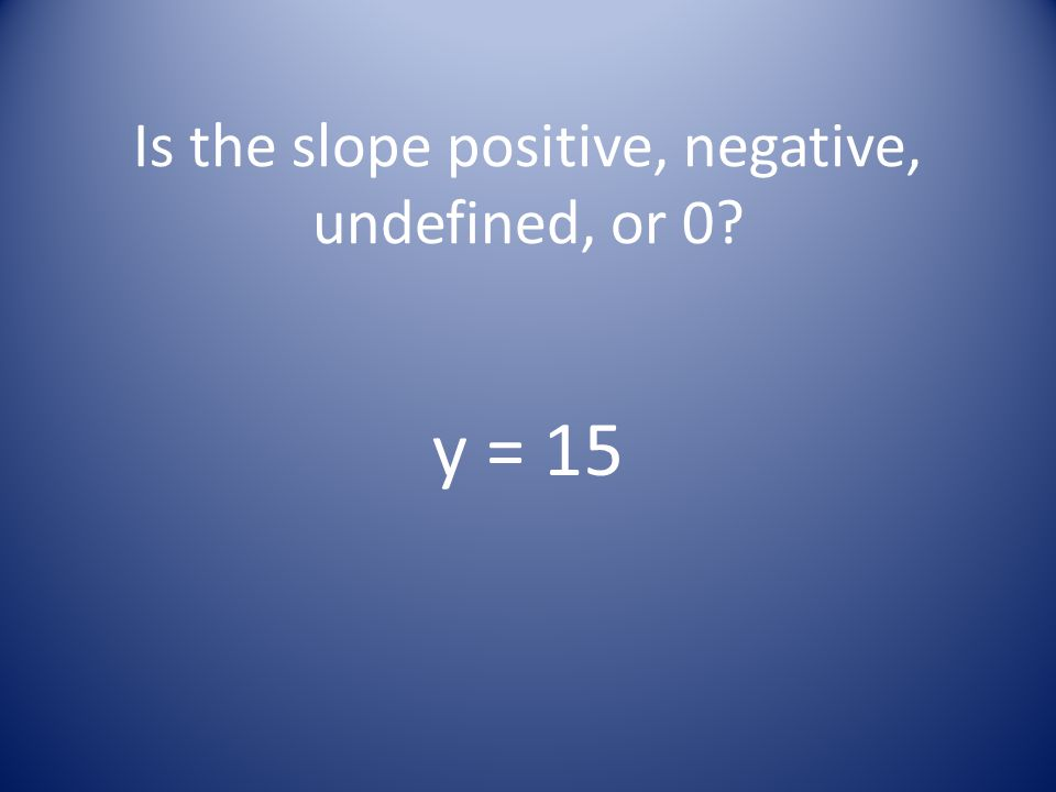 Is the slope positive, negative, undefined, or 0? y = 15
