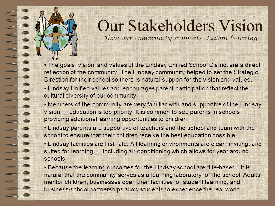Our Stakeholders Vision How our community supports student learning The goals, vision, and values of the Lindsay Unified School District are a direct