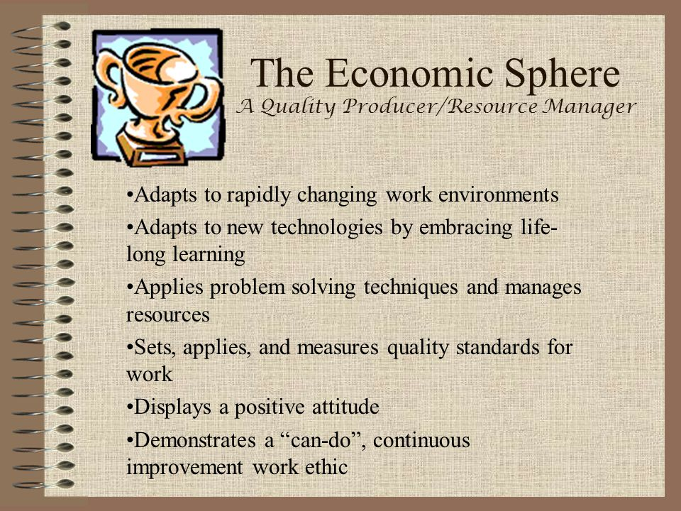 The Economic Sphere A Quality Producer/Resource Manager Adapts to rapidly changing work environments Adapts to new technologies by embracing life- lon