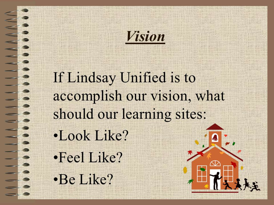 Vision If Lindsay Unified is to accomplish our vision, what should our learning sites: Look Like? Feel Like? Be Like?