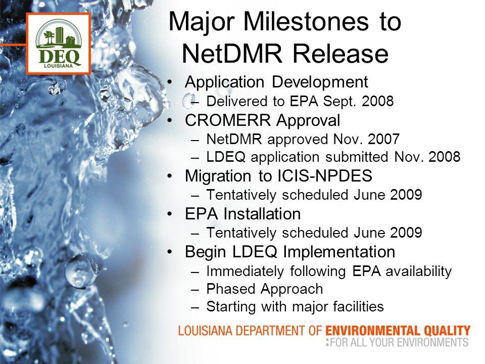 Major Milestones to NetDMR Release Application Development –Delivered to EPA Sept.