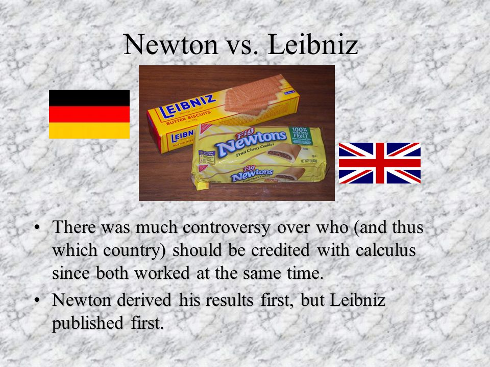 Newton vs. Leibniz There was much controversy over who (and thus which country) should be credited with calculus since both worked at the same time.Th