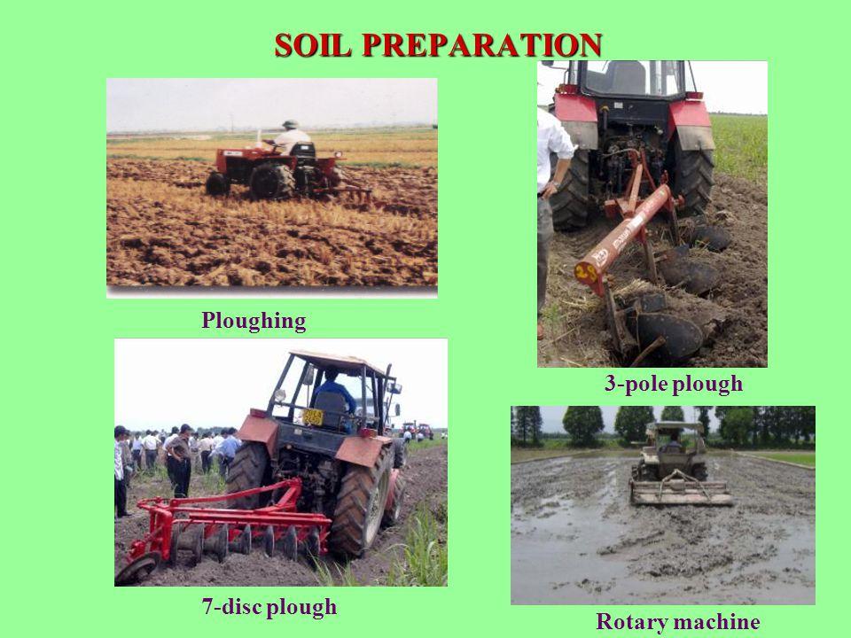 SOIL PREPARATION Ploughing 3-pole plough 7-disc plough Rotary machine