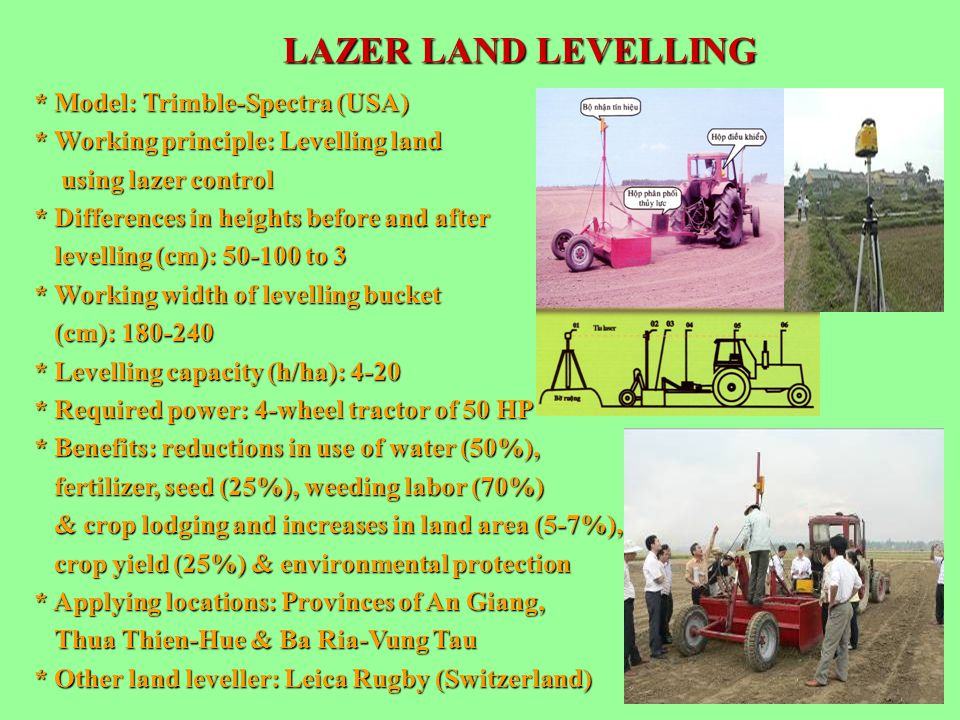 LAZER LAND LEVELLING * Model: Trimble-Spectra (USA) * Working principle: Levelling land using lazer control using lazer control * Differences in heigh