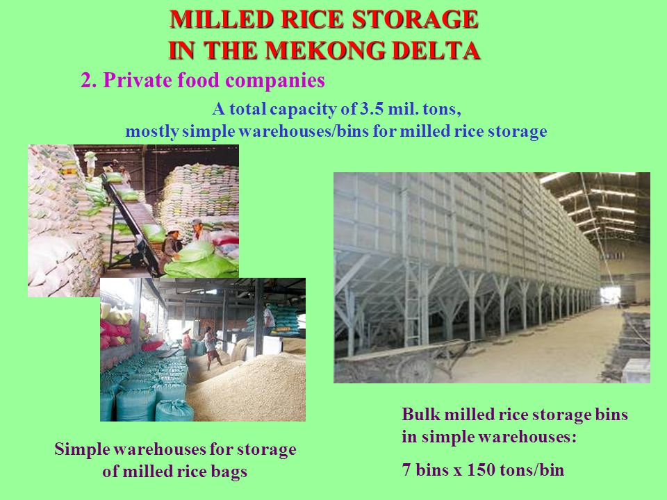 MILLED RICE STORAGE IN THE MEKONG DELTA Simple warehouses for storage of milled rice bags A total capacity of 3.5 mil. tons, mostly simple warehouses/