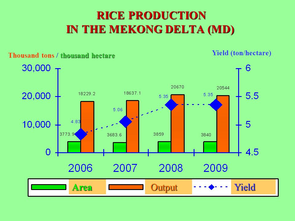 RICE PRODUCTION IN THE MEKONG DELTA (MD) RICE PRODUCTION IN THE MEKONG DELTA (MD) thousand hectare Thousand tons / thousand hectare Yield (ton/hectare