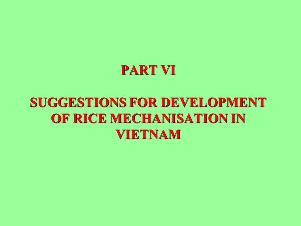PART VI SUGGESTIONS FOR DEVELOPMENT OF RICE MECHANISATION IN VIETNAM