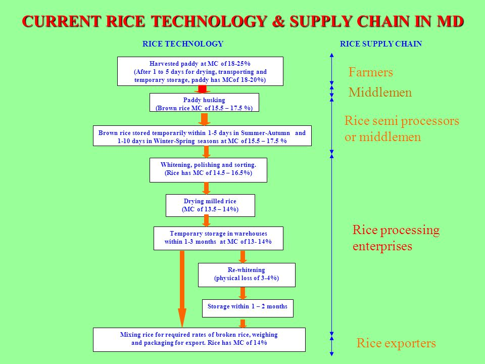 CURRENT RICE TECHNOLOGY & SUPPLY CHAIN IN MD Harvested paddy at MC of 18-25% (After 1 to 5 days for drying, transporting and temporary storage, paddy