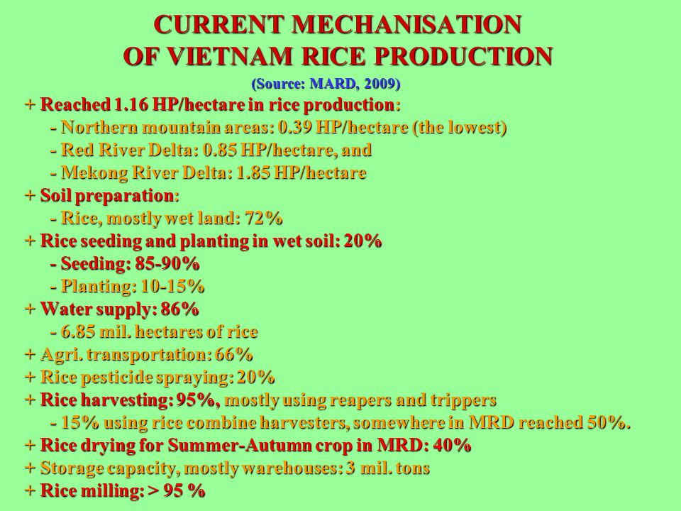 (Source: MARD, 2009) (Source: MARD, 2009) + Reached 1.16 HP/hectare in rice production: - Northern mountain areas: 0.39 HP/hectare (the lowest) - Red
