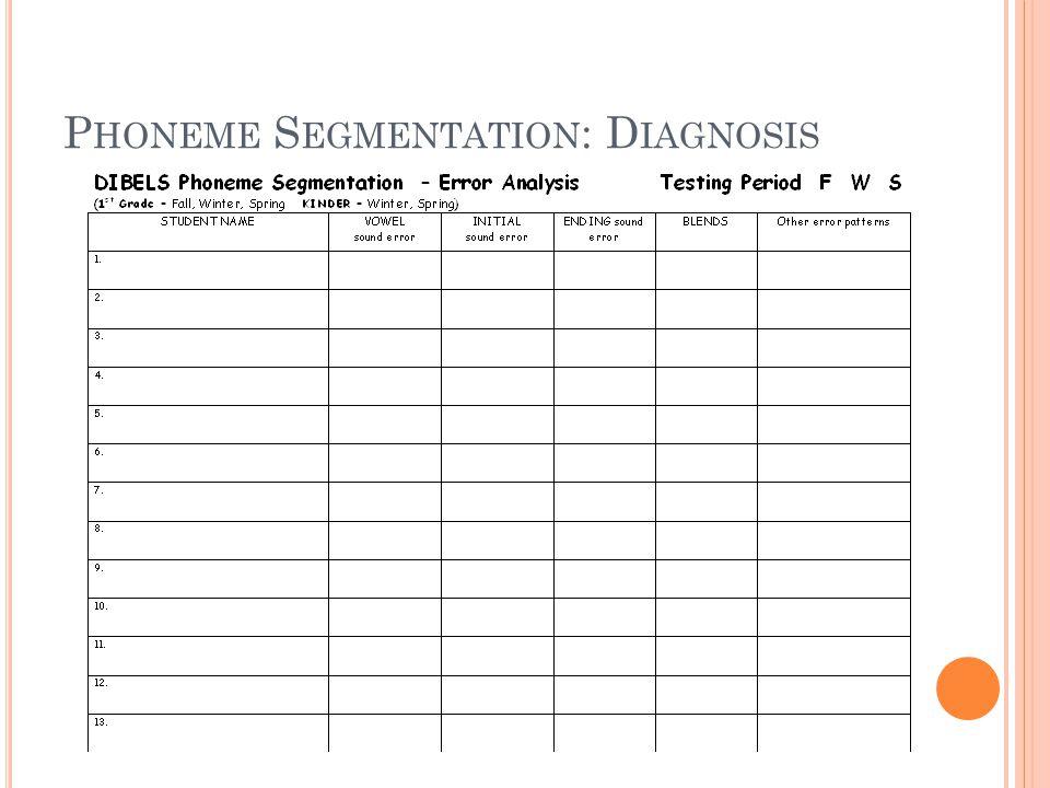 P HONEME S EGMENTATION : D IAGNOSIS
