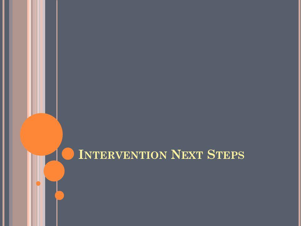 I NTERVENTION N EXT S TEPS
