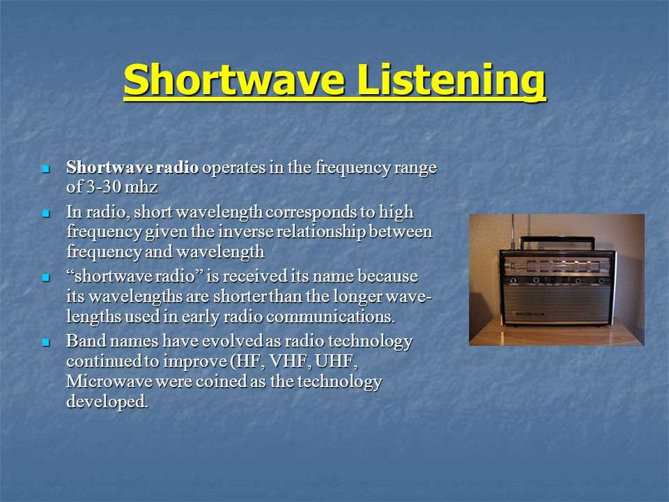 Shortwave Listening Shortwave radio operates in the frequency range of 3-30 mhz Shortwave radio operates in the frequency range of 3-30 mhz In radio,