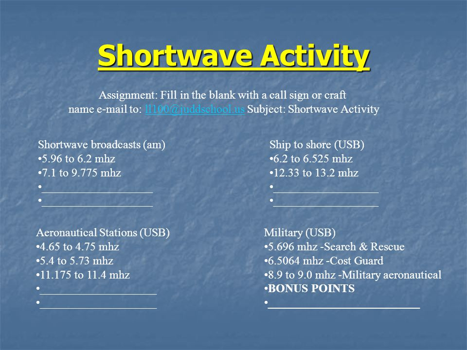 Shortwave Activity Shortwave broadcasts (am) 5.96 to 6.2 mhz 7.1 to 9.775 mhz ___________________ Aeronautical Stations (USB) 4.65 to 4.75 mhz 5.4 to 5.73 mhz 11.175 to 11.4 mhz ____________________ Ship to shore (USB) 6.2 to 6.525 mhz 12.33 to 13.2 mhz __________________ Military (USB) 5.696 mhz -Search & Rescue 6.5064 mhz -Cost Guard 8.9 to 9.0 mhz -Military aeronautical BONUS POINTS __________________________ Assignment: Fill in the blank with a call sign or craft name e-mail to: ll100@juddschool.us Subject: Shortwave Activityll100@juddschool.us