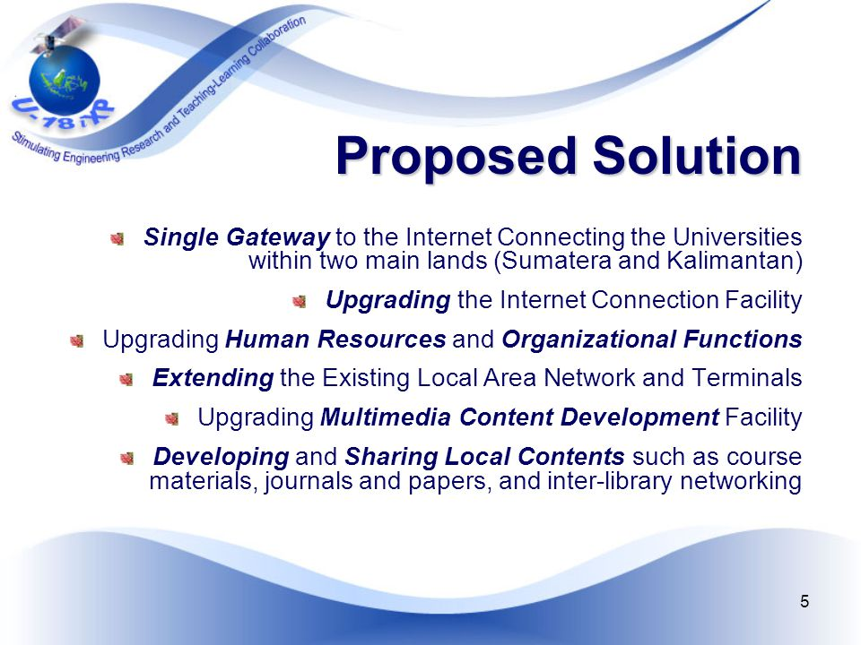 5 Proposed Solution Single Gateway to the Internet Connecting the Universities within two main lands (Sumatera and Kalimantan) Upgrading the Internet Connection Facility Upgrading Human Resources and Organizational Functions Extending the Existing Local Area Network and Terminals Upgrading Multimedia Content Development Facility Developing and Sharing Local Contents such as course materials, journals and papers, and inter-library networking