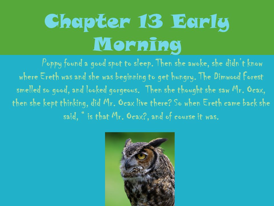 Chapter 12 What Poppy Learns Poppy was real worried that Ereth would eat her and kill her with his quills, when she yelled don't eat me please, Ereth