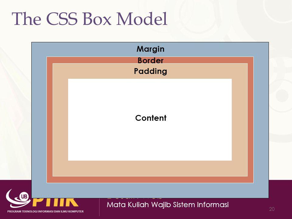 Desain Web Mata Kuliah Wajib Sistem Informasi 20 The CSS Box Model Content Padding Border Margin