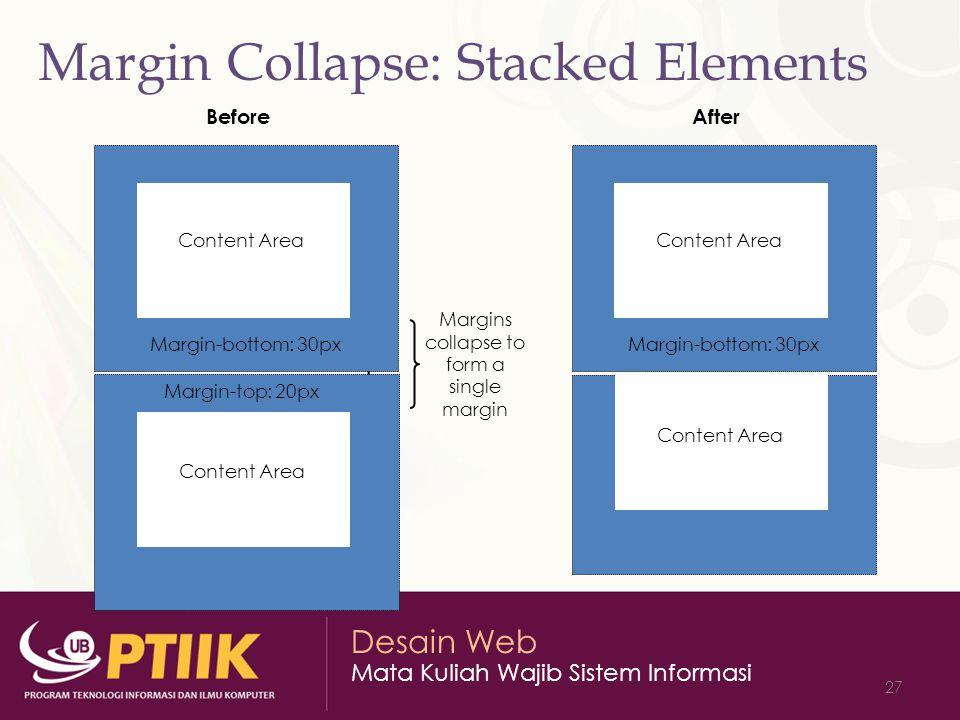 Desain Web Mata Kuliah Wajib Sistem Informasi 27 Margin Collapse: Stacked Elements Content Area Margin-bottom: 30px Margin-top: 20px Before Content Ar