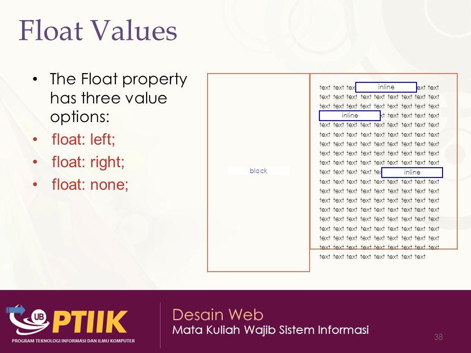 Desain Web Mata Kuliah Wajib Sistem Informasi 38 Float Values The Float property has three value options: float: left; float: right; float: none; text