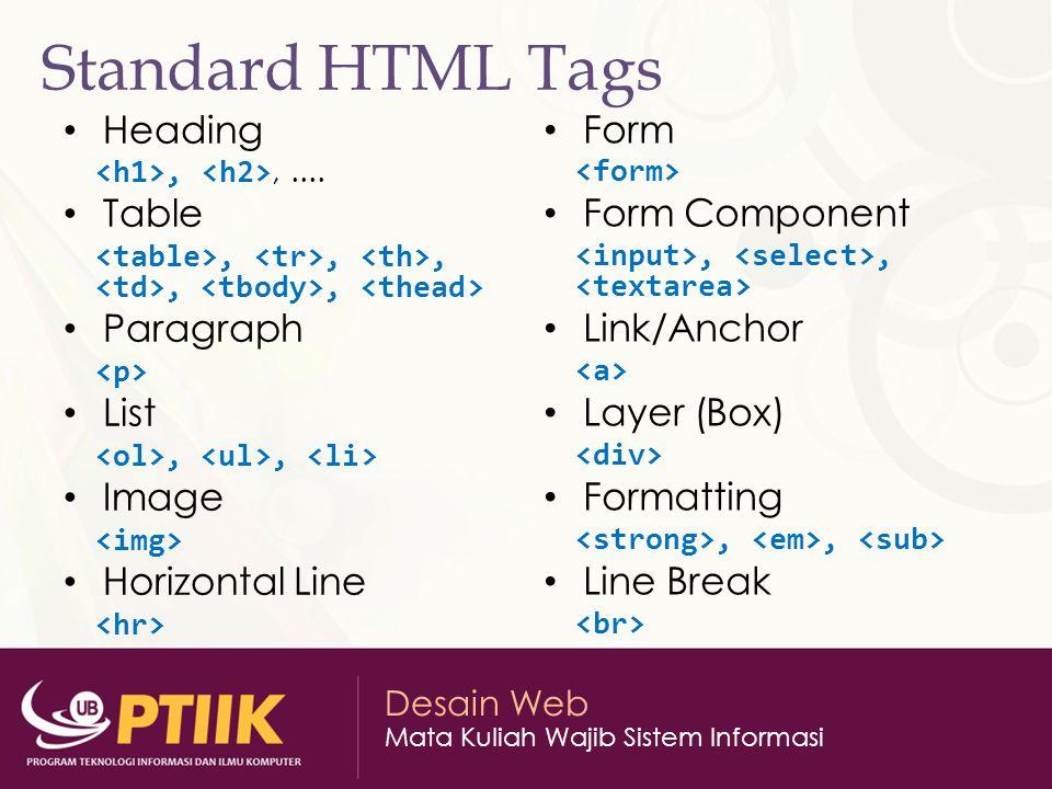 Desain Web Mata Kuliah Wajib Sistem Informasi Standard HTML Tags Heading,,.... Table,,,,, Paragraph List,, Image Horizontal Line Form Form Component,,
