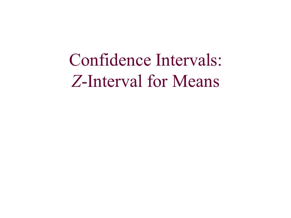 Confidence Intervals: Z-Interval for Means