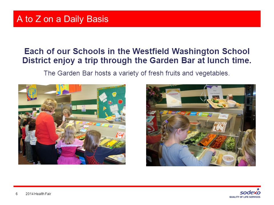 A to Z on a Daily Basis Each of our Schools in the Westfield Washington School District enjoy a trip through the Garden Bar at lunch time.