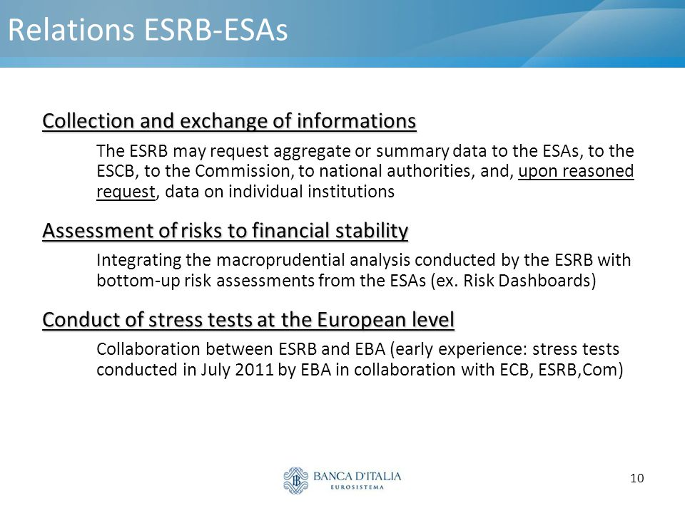 10 Relations ESRB-ESAs Collection and exchange of informations The ESRB may request aggregate or summary data to the ESAs, to the ESCB, to the Commiss