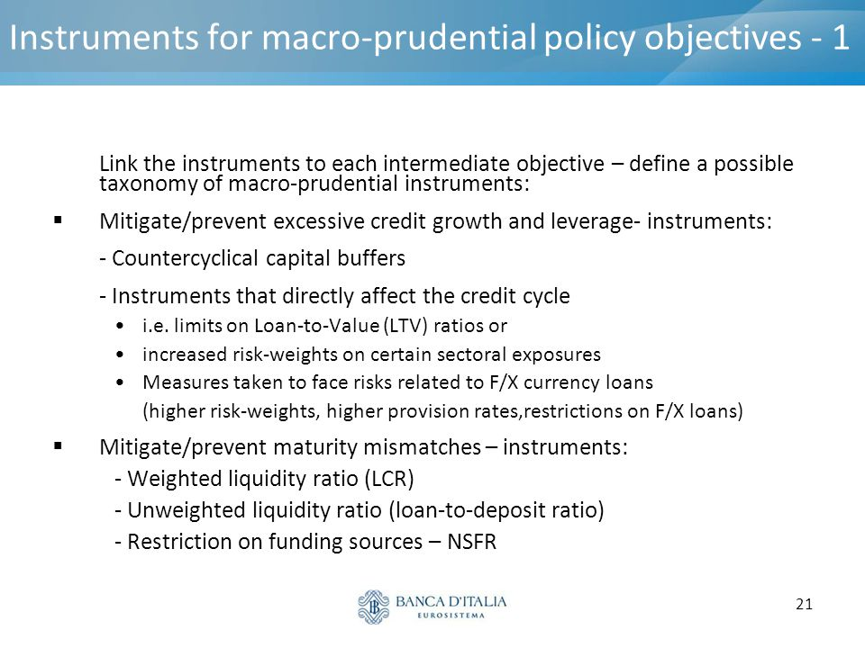 21 Instruments for macro-prudential policy objectives - 1 Link the instruments to each intermediate objective – define a possible taxonomy of macro-pr