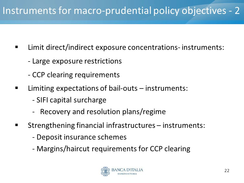 22 Instruments for macro-prudential policy objectives - 2  Limit direct/indirect exposure concentrations- instruments: - Large exposure restrictions
