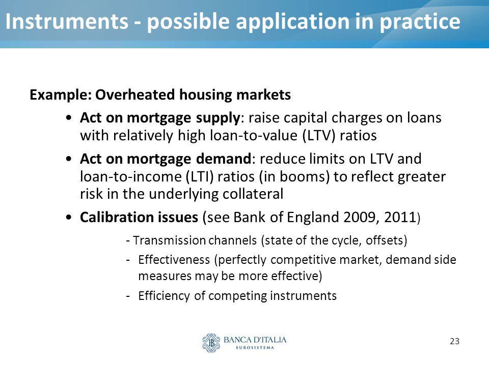 23 Instruments - possible application in practice Example: Overheated housing markets Act on mortgage supply: raise capital charges on loans with rela