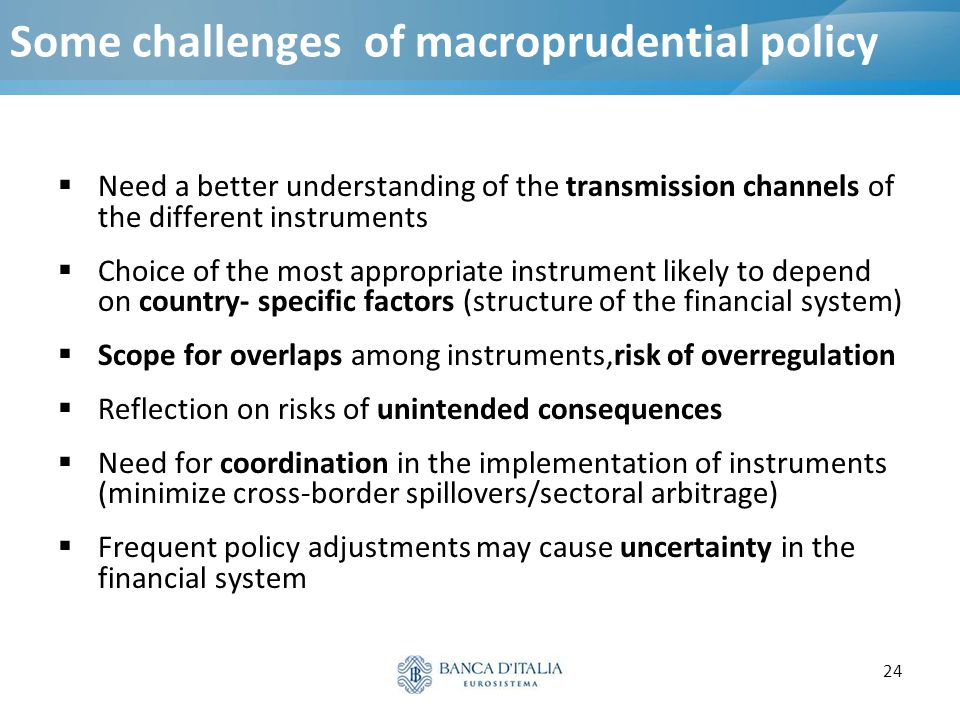 24 Some challenges of macroprudential policy  Need a better understanding of the transmission channels of the different instruments  Choice of the m