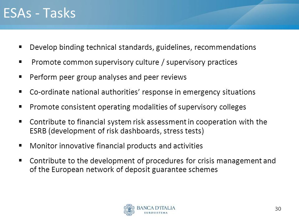 30 ESAs - Tasks  Develop binding technical standards, guidelines, recommendations  Promote common supervisory culture / supervisory practices  Perf