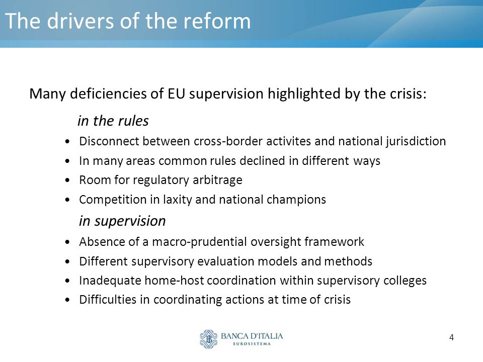 5 The objectives of the reform The main answers given by the reform: Establishment of a body in charge of macro-prudential oversight Strengthening of the micro-prudential supervisory framework: 3 new EU Authorities with the following tasks: - improve convergence of rules and practices (Single Rulebook) -strengthen cooperation in supervision of cross-border institutions -contribute to the financial system's risk assessment (i.e.