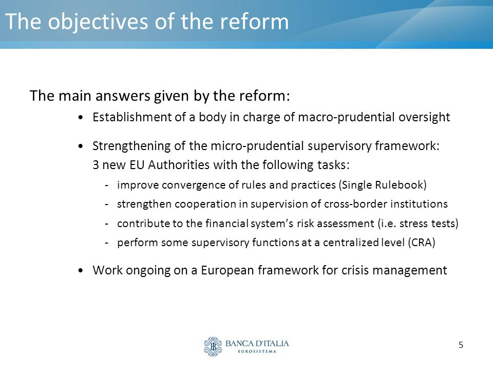 5 The objectives of the reform The main answers given by the reform: Establishment of a body in charge of macro-prudential oversight Strengthening of