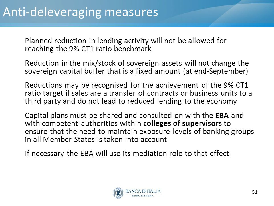 51 Anti-deleveraging measures Planned reduction in lending activity will not be allowed for reaching the 9% CT1 ratio benchmark Reduction in the mix/s