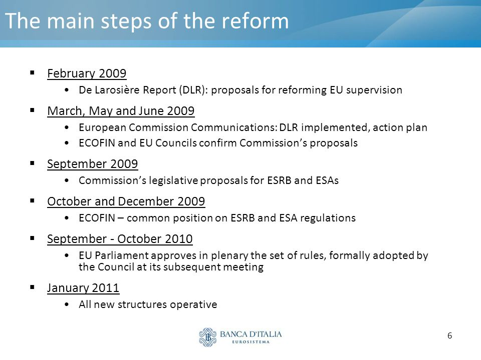 6 The main steps of the reform  February 2009 De Larosière Report (DLR): proposals for reforming EU supervision  March, May and June 2009 European C