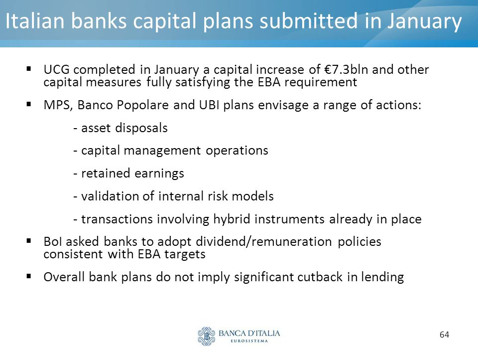 64 Italian banks capital plans submitted in January  UCG completed in January a capital increase of €7.3bln and other capital measures fully satisfyi