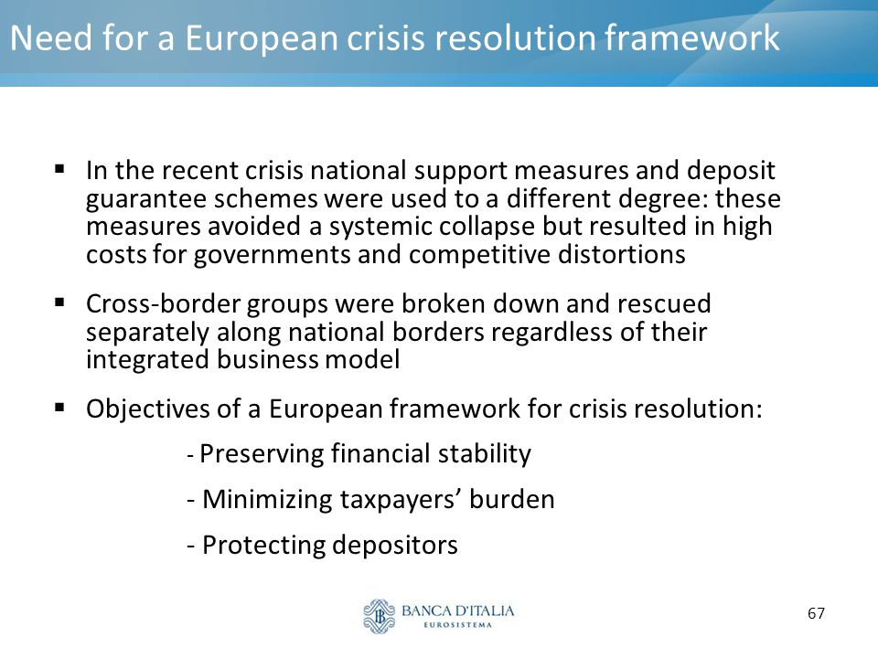 67 Need for a European crisis resolution framework  In the recent crisis national support measures and deposit guarantee schemes were used to a diffe
