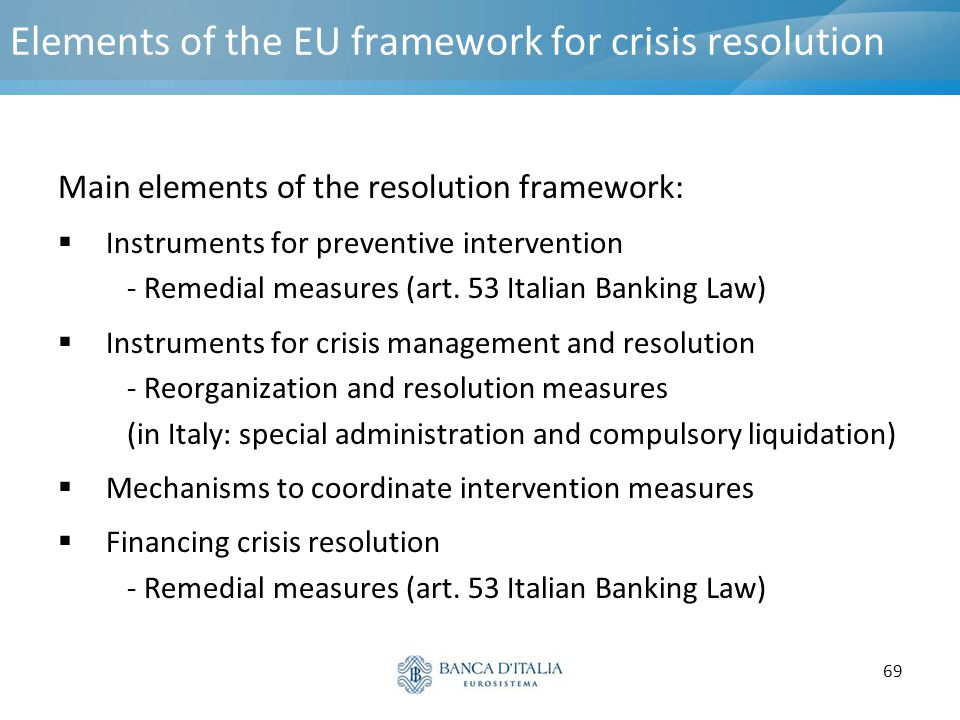 69 Elements of the EU framework for crisis resolution Main elements of the resolution framework:  Instruments for preventive intervention - Remedial