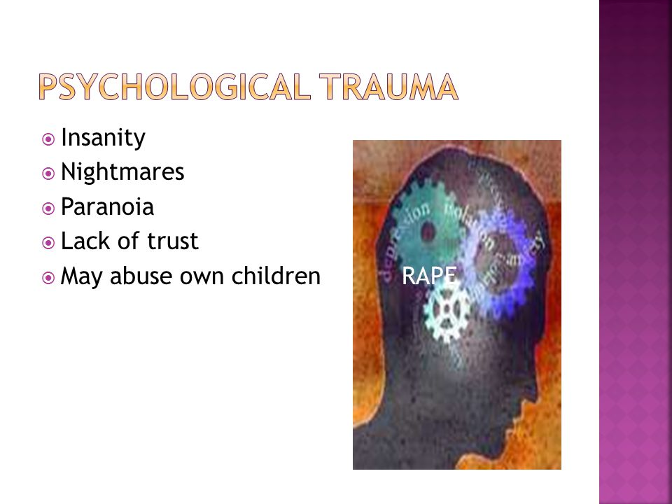  Insanity  Nightmares  Paranoia  Lack of trust  May abuse own children RAPE