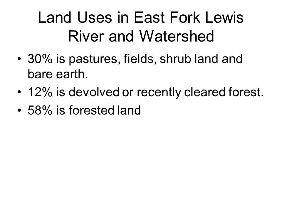 Land Uses in East Fork Lewis River and Watershed 30% is pastures, fields, shrub land and bare earth.