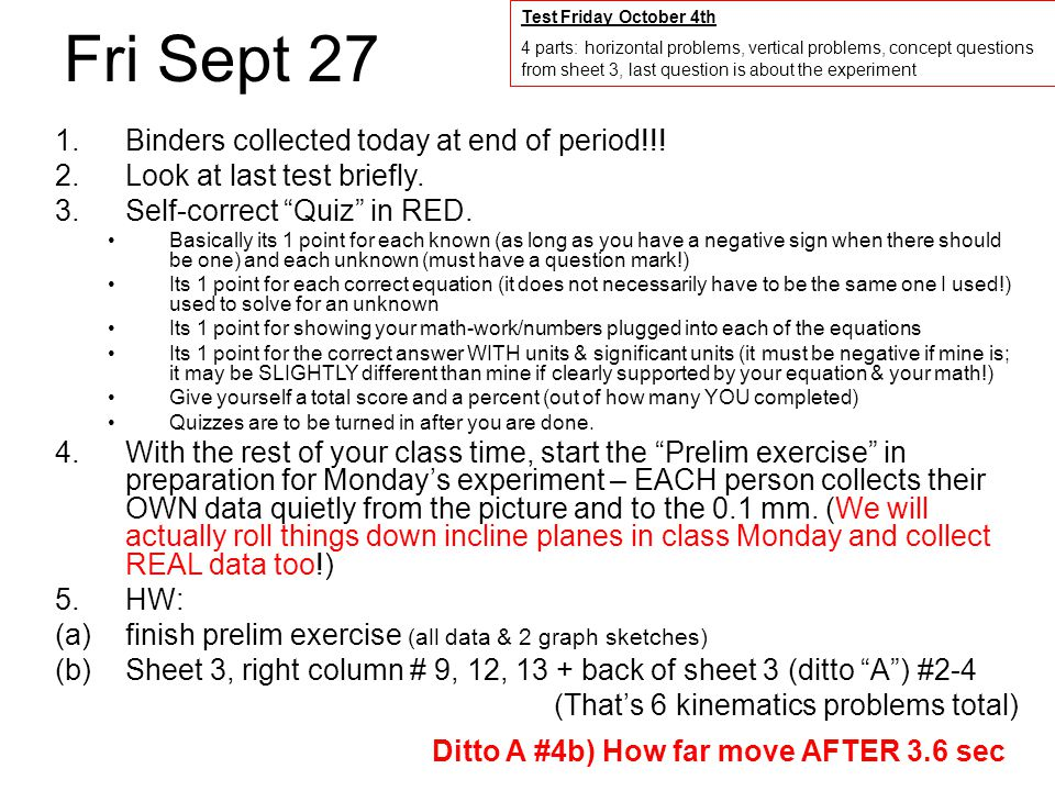 Fri Sept 27 1.Binders collected today at end of period!!.