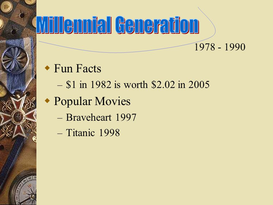  Fun Facts – $1 in 1982 is worth $2.02 in 2005  Popular Movies – Braveheart 1997 – Titanic