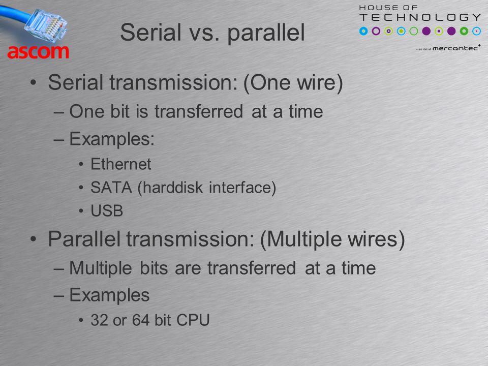 Transmission speeds Measured in bits per second(bps) Or Bytes per second (Bps) –Note B = Byte and b = bit –10 Mbps = 10 Mega bits per sekund –10 mbps = 10 milli bits per sekund (slow) Ethernet speeds range from –10 Mbps to 100 Gbps