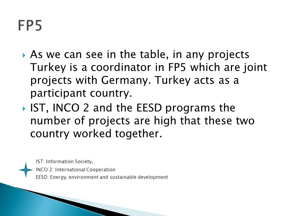  As we can see in the table, in any projects Turkey is a coordinator in FP5 which are joint projects with Germany.