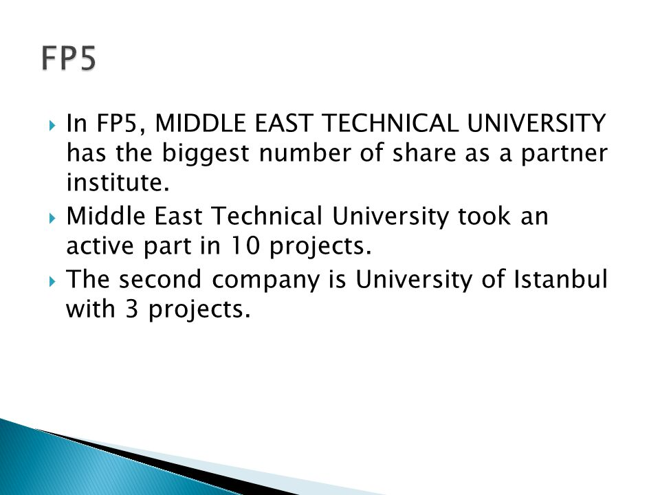  In FP5, MIDDLE EAST TECHNICAL UNIVERSITY has the biggest number of share as a partner institute.