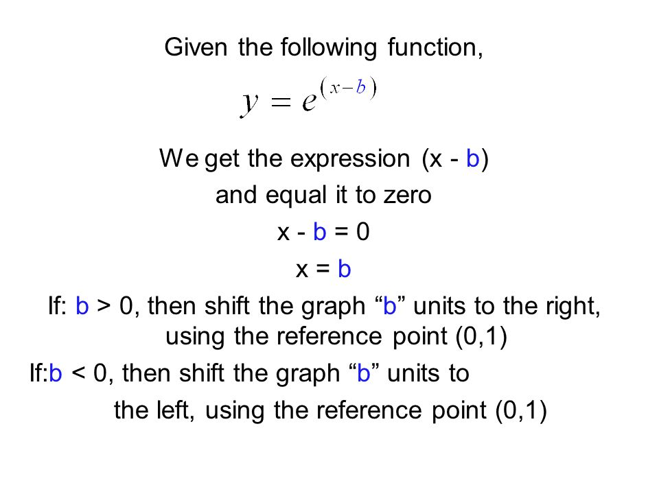 Given the following function, We get the expression (x - b) and equal it to zero x - b = 0 x = b If: b > 0, then shift the graph b units to the right, using the reference point (0,1) If:b < 0, then shift the graph b units to the left, using the reference point (0,1)