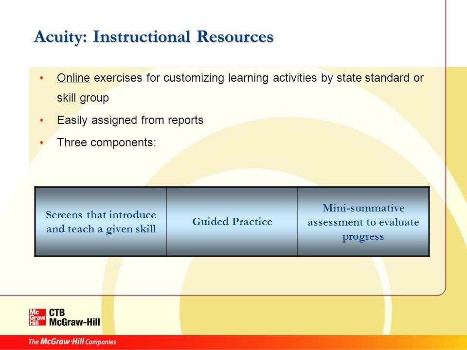 Acuity: Instructional Resources Online exercises for customizing learning activities by state standard or skill group Easily assigned from reports Three components: Screens that introduce and teach a given skill Guided Practice Mini-summative assessment to evaluate progress