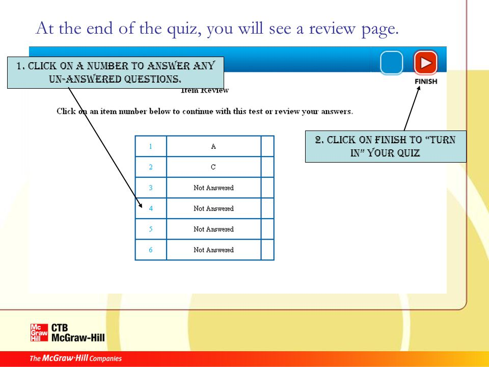 At the end of the quiz, you will see a review page.