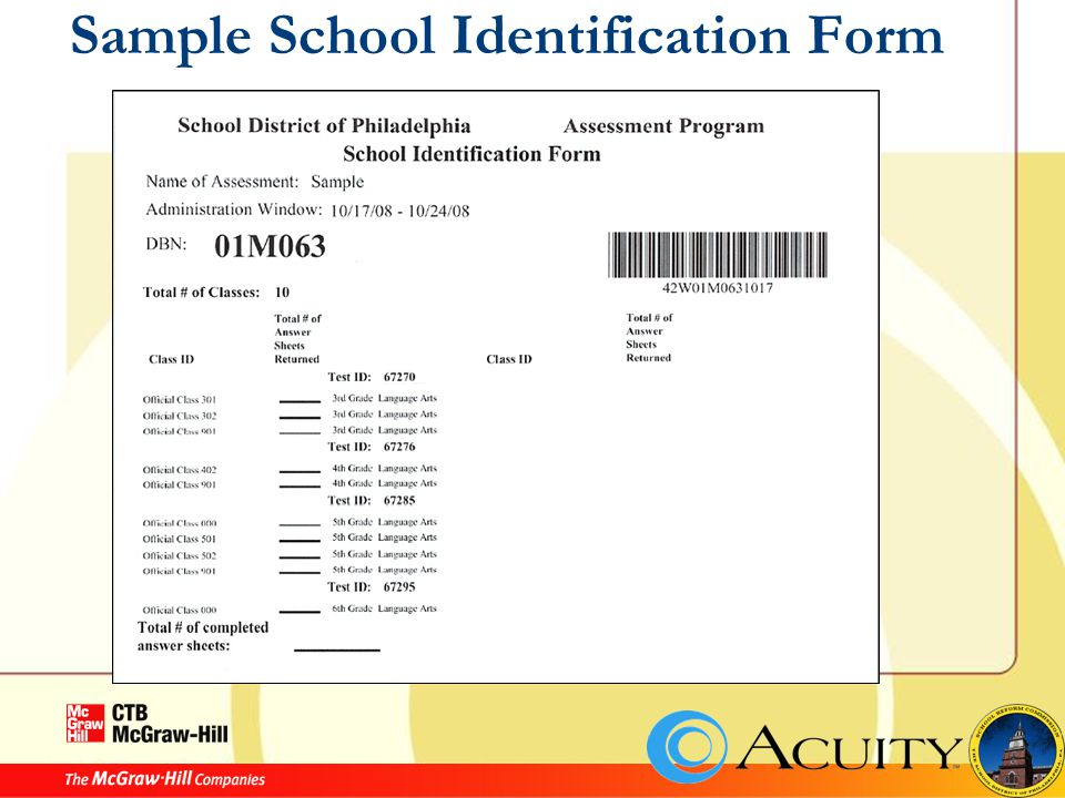 Sample School Identification Form