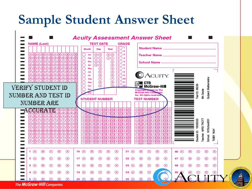 Sample Student Answer Sheet Verify Student ID number and Test ID number are accurate
